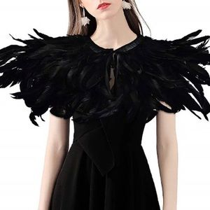 NEW NOW IN! Black Crow Feather Costume Shrug